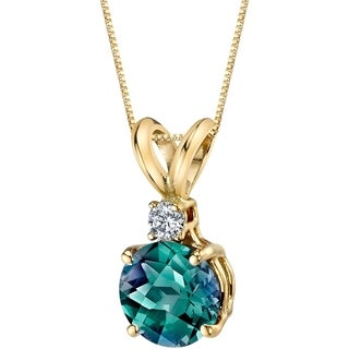 Oravo 14 Karat Yellow Gold Round Cut 1.25 Carats Created Alexandrite Diamond Pendant - Silver