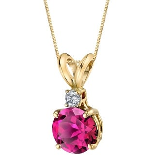 Oravo 14 Karat Yellow Gold Round Cut 1.50 Carats Created Ruby Diamond Pendant - Silver