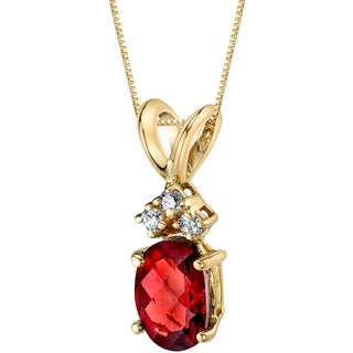 Oravo 14 Karat Yellow Gold Oval Shape 1.00 Carats Garnet Diamond Pendant - Silver