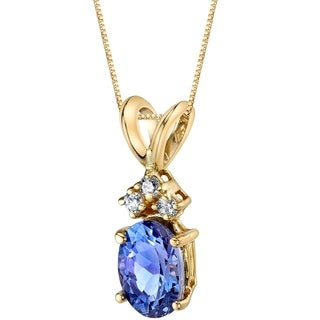 Oravo 14 Karat Yellow Gold Oval Shape 0.75 Carats Tanzanite Diamond Pendant - Silver