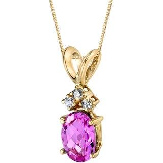Oravo 14 Karat Yellow Gold Oval Shape 1.00 Carats Created Pink Sapphire Diamond Pendant - Silver