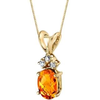 Oravo 14 Karat Yellow Gold Oval Shape 0.75 Carats Citrine Diamond Pendant - Silver