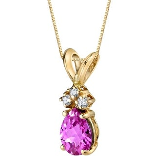 Oravo 14 Karat Yellow Gold Pear Shape 1.00 Carats Created Pink Sapphire Diamond Pendant - Silver