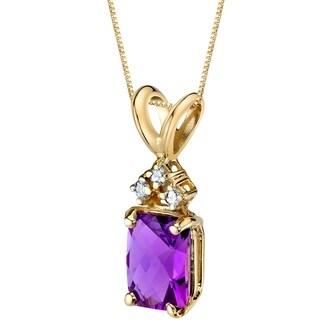 Oravo 14 Karat Yellow Gold Radiant Cut 1.00 Carats Amethyst Diamond Pendant - Silver