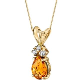 Oravo 14 Karat Yellow Gold Pear Shape 0.75 Carats Citrine Diamond Pendant - Silver