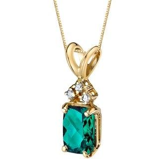 Oravo 14 Karat Yellow Gold Radiant Cut 1.00 Carats Created Emerald Diamond Pendant - Silver