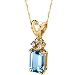 Oravo 14 Karat Yellow Gold Emerald Cut 1.00 Carats Aquamarine Diamond Pendant - Silver