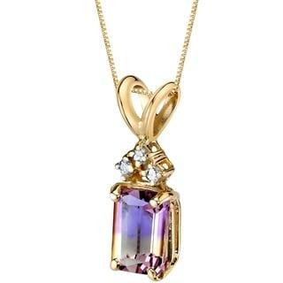 Oravo 14 Karat Yellow Gold Emerald Cut 1 00 Carats Ametrine Diamond Pendant Silver