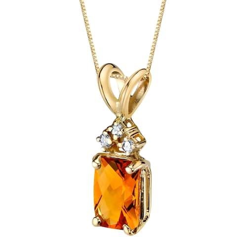 Oravo 14 Karat Yellow Gold Radiant Cut 1.00 Carats Citrine Diamond Pendant - Silver