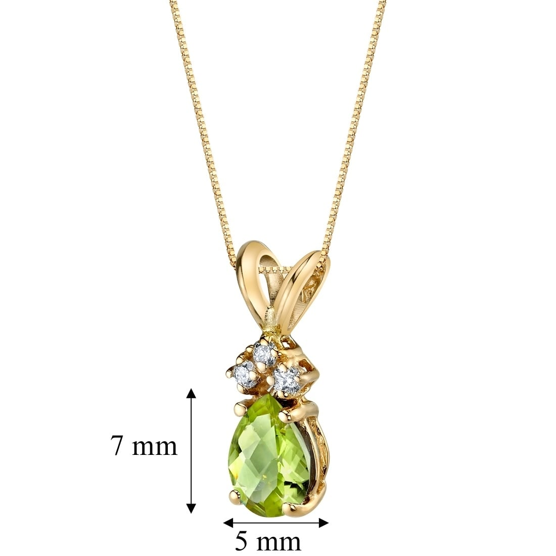 14 kt White Gold Heart Shape 1.00 ct Peridot Pendant