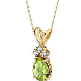 Oravo 14 Karat Yellow Gold Pear Shape 0 75 Carats Peridot Diamond Pendant Silver