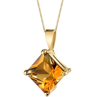 Oravo 14 Karat Yellow Gold Princess Cut 2.25 Carats Citrine Pendant - Silver