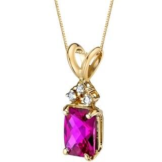 Oravo 14 Karat Yellow Gold Radiant Cut 1.25 Carats Created Ruby Diamond Pendant - Silver