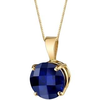 Oravo 14 Karat Yellow Gold Round Cut 2.50 Carats Created Blue Sapphire Pendant - Silver