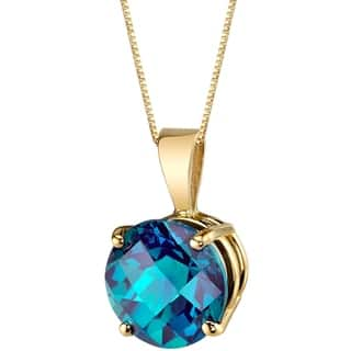 Alexandrite pendant gemstone necklaces for less overstock oravo 14 karat yellow gold round cut 235 carats created alexandrite pendant silver aloadofball Choice Image