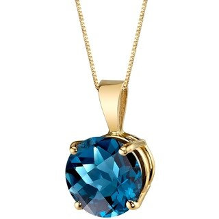 Oravo 14 Karat Yellow Gold Round Cut 2.50 Carats London Blue Topaz Pendant - Silver