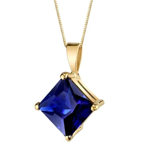 Oravo 14 Karat Yellow Gold Princess Cut 3.50 Carats Created Blue Sapphire Pendant - Silver