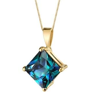 Oravo 14 Karat Yellow Gold Princess Cut 3.00 Carats Created Alexandrite Pendant - Silver