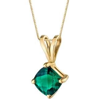 Oravo 14 Karat Yellow Gold Cushion Cut 0.75 Carats Created Emerald Pendant - Silver