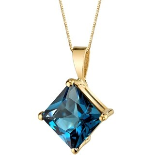 Oravo 14 Karat Yellow Gold Princess Cut 3.00 Carats London Blue Topaz Pendant - Silver