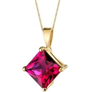 Oravo 14 Karat Yellow Gold Princess Cut 3.00 Carats Created Ruby Pendant - Silver
