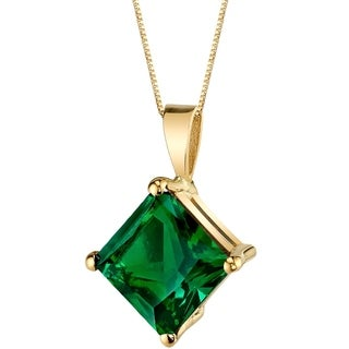 Oravo 14 Karat Yellow Gold Princess Cut 2.25 Carats Created Emerald Pendant - Silver