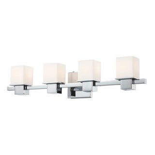 Alico Lexington Chrome and White Opal Glass 4-light Vanity (As Is Item)