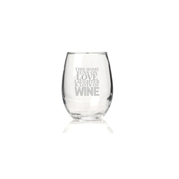 This Home Runs On Love Laughter & Lots Of Wine Stemless Wine Glass (Set of 4)