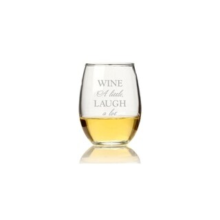 Wine A Little Laugh A Lot Stemless Wine Glass (Set of 4)