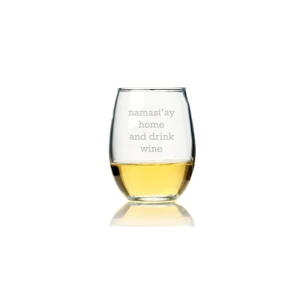 Namast'ay Home And Drink Wine Stemless Wine Glass (Set of 4)