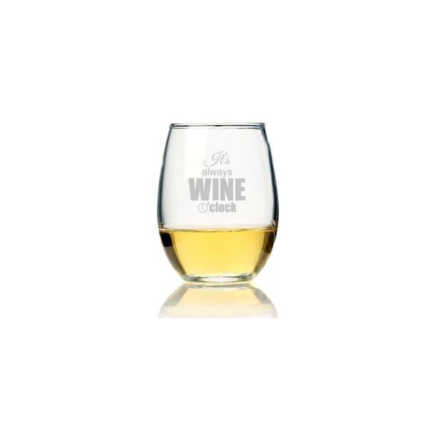 f88dd13dd63 It's Always Wine O'Clock Stemless Wine Glass (Set of 4)