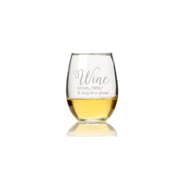Wine - A Hug in a Glass Stemless Wine Glass (Set of 4)