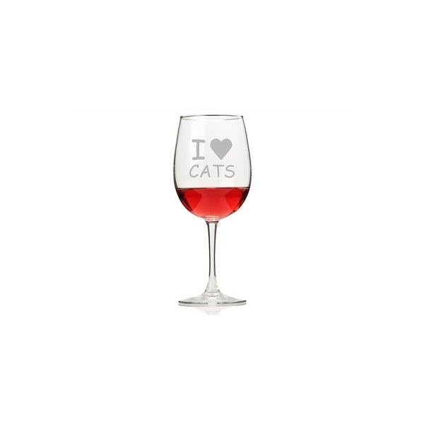 I Love Cats Wine Glasses (Set of 4)