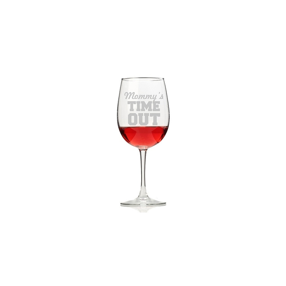 Madison Mommy's Time Out Wine Glasses (Set of 4), Clear
