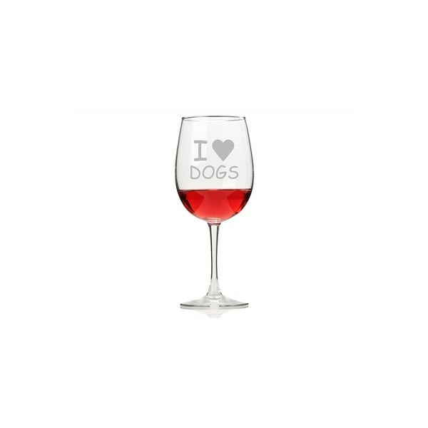 I Love Dogs Wine Glasses (Set of 4)