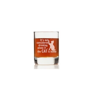 It's Not Drinking Alone If The Cat Is Home Rock Glasses (Set of 4)