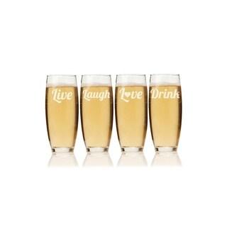 Live, Laugh, Love, Drink Stemless Champagne Flute (Set of 4)