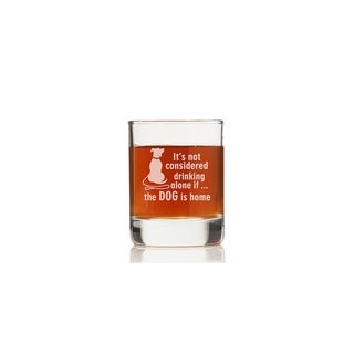 It's Not Drinking Alone If The Dog Is Home Rock Glasses (Set of 4)