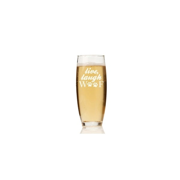 Live Laugh Woof Glass Stemless Champagne Flute (Set of 4)
