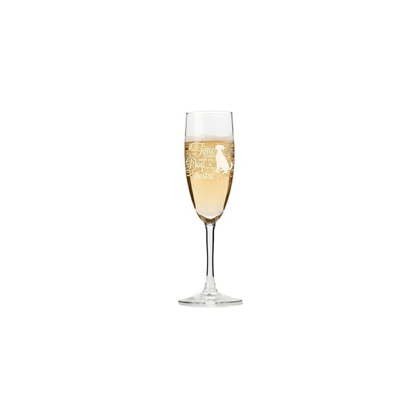 Time With Dog Is Never Wasted Champagne Flutes (Set of 4)