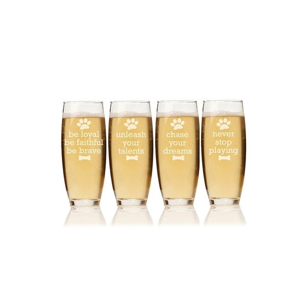 Dog Wisdom Stemless Champagne Flute (Set of 4)