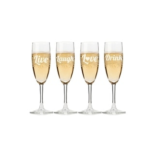 Live, Laugh, Love, Drink Champagne Flutes (Set of 4)