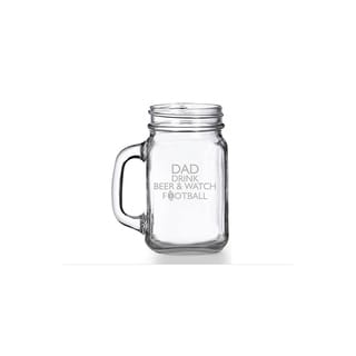 Dad Drink Beer And Watch Football Mason Jar Mug (Set of 4)