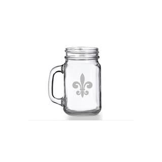 Fleur de Lis Glass Mason Jar Mug (Set of 4)