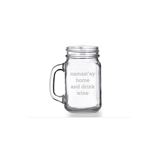 Namast'ay Home And Drink Wine Mason Jar Mug (Set of 4)