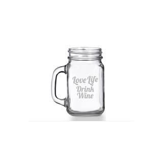 Love Life Drink Wine Mason Jar Mug (Set of 4)