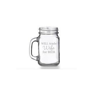 Will Trade Wife For Beer Mason Jar Mug (Set of 4)