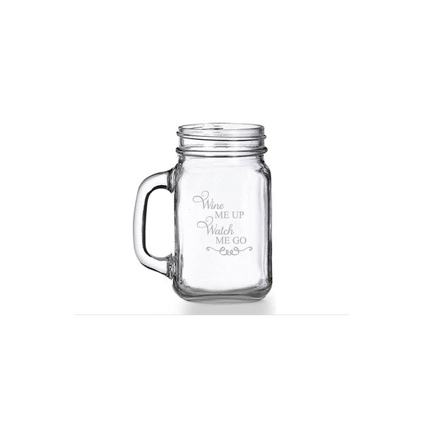 Wine Me Up Watch Me Go Mason Jar Mug (Set of 4)