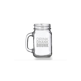 Drink Drunk Drank Mason Jar Mug (Set of 4)