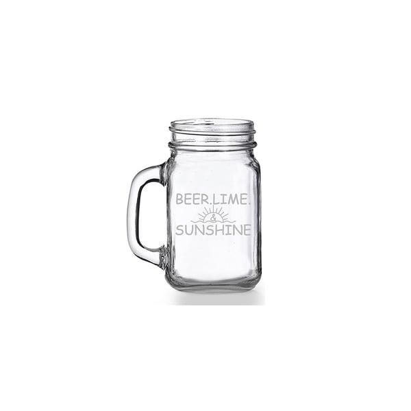 Beer Lime And Sunshine Mason Jar Mug (Set of 4)